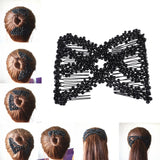 M MISM Women Pearl Beads Elastic Hair Combs Double Slide Magic Bun DIY Hairstyle Making Tool Metal Novelty Hair Clip Accessories - thefashionique