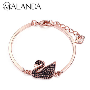 MALANDA Crystals From Swarovski Zircon Swan Bracelets Bangles For Women Fashion Brand Bracelet Weddings Party Jewelry Gift 2018 - thefashionique