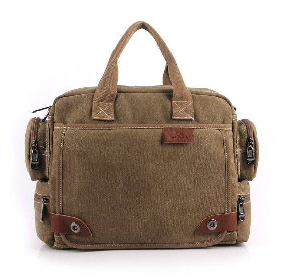 MANJIANGHONG Men Canvas Messenger Bag male Crossbody Bag Canvas Shoulder Messenger Bags Men's Handbag business Tote Briefcase - thefashionique