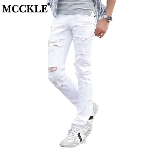 MCCKLE Fashion White Ripped Jeans Men Skinny Distressed Denim Joggers With Holes Torn Destroyed Jean Pants Male Brand Designer