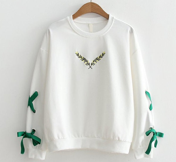 MERRY PRETTY Women Autumn Chic Lace Up Sweatshirt Preppy Style Embroidery Hoodies Casual Sweet Lace up White Tracksuit Cute Tops - thefashionique