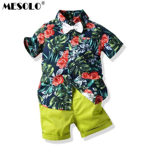 MESOLO Spring and summer new children's green shirt short-sleeved shorts two-piece set of six one costume suit - thefashionique