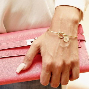 MESTILO Trendy Tie knotted Open Cuff Bangle Rose Gold Sliver Coin 26 Letters Initial Charm Bracelets Wire Love Bangles For Women - thefashionique