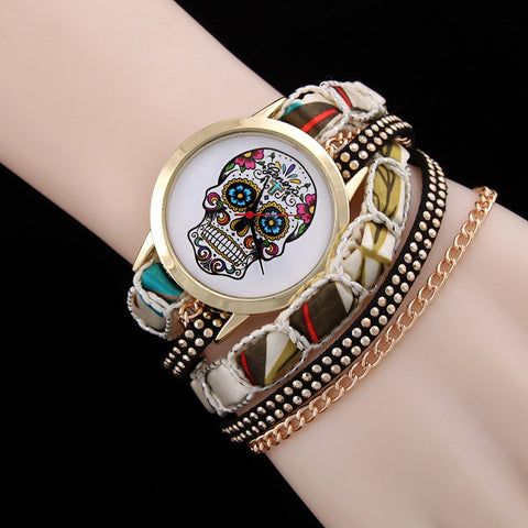 MINHIN Cool Hand Made Strap Leather Quartz Watches Hot Fashion Ghost Head Rivets Chain Bracelet Ladies Watches Mujer Relojes