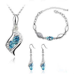 MINHIN Elegant Luxury Design Silver Plated Multi Colors Austrian Crystal Wedding Jewelry Sets Birthday Gifts For Women - thefashionique