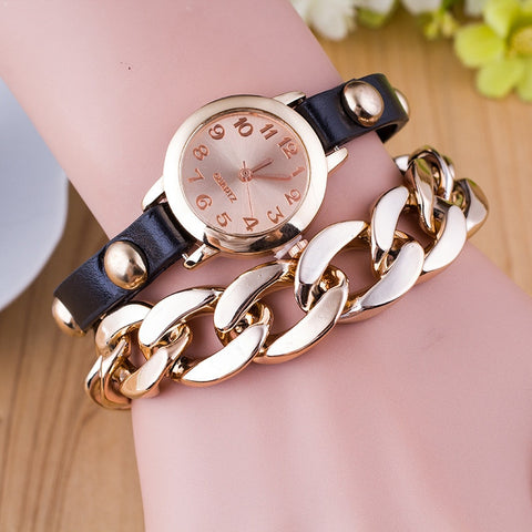 MINHIN New Design Hot Sale Women 's Watch PU Leather Alloy Chain Layers Strap Bracelet Bangle Quartz Watch Gift Wristwatch