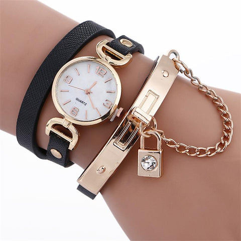 MINHIN Women's Casual Fashion Leather Watch Ladies Bracelet Wristwatch Lock Design Alloy Chain Strap Bangle Gold Watches