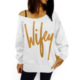 MLCRIYG Fashion Wifey Letters Printed Sweatshirt Women Pullover Tops Sexy Slash Neck Hoody Solid Black Gray White Loose Shirt - thefashionique