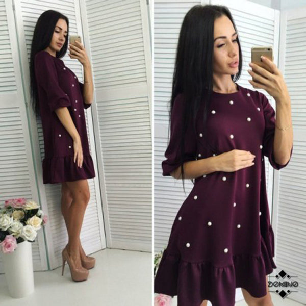 MOARCHO Women fashion Beading Ruffle Loose Dress 2017 Autumn Woman Half Sleeve O-neck mini dresses Ladies Causal bodycon Dress - thefashionique