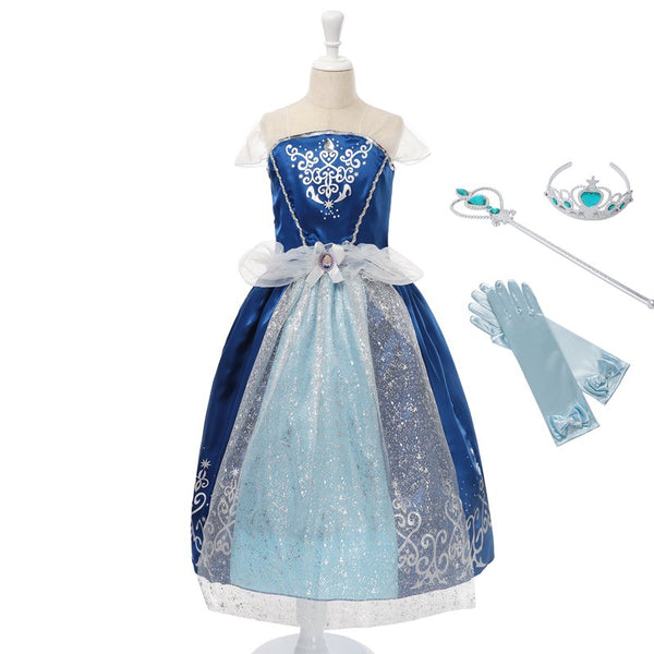 MUABABY Girl Cinderella Dress Children Summer Princess Cosplay Costume Kid Snow White Belle Rapunzel Sofia Halloween Party Dress - thefashionique