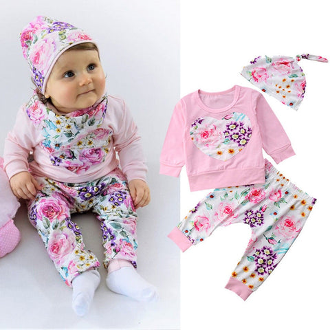 MUQGEW Boutique kids clothing Children clothing set Baby Girl Clothes Floral  shirt Tops+ Pants Hat 3PCS conjunto infantil roupa