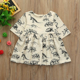 MUQGEW Children's dress Toddler Infant Baby Girls Cartoon Dinosaur Print Sun Dresses Clothes Outfits Cotton Spring O-Neck dress - thefashionique