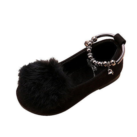 MUQGEW Kids Sandals Children Kid Baby Girls Sandals Warm Flock Fluffy Bowknot Student Single Princess Comfortable Casual Shoes