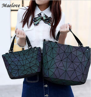 Maelove Luminous bag Women Geometry Diamond Tote Quilted Shoulder Bags Laser Plain Folding Handbags Hologram Free Shipping - thefashionique