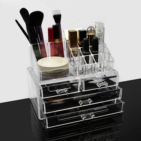 Makeup Cosmetic Organizer Lipstick Eye shadow Brushes in One Place Storage Drawers Women Makeup Finishing Case Ship From RU CN - thefashionique