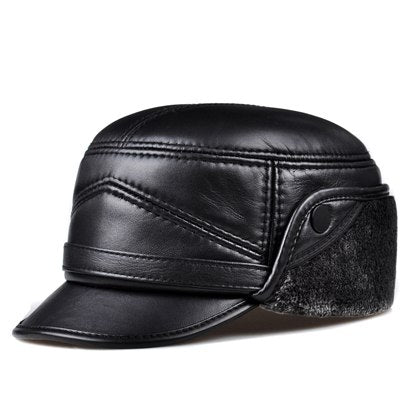 Male Winter Genuine Leather Thicken Faux Fur Inside Head Warm Bomber Hat Man Black Caps With Belt Motorcycle Snow Casquette - thefashionique