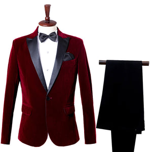 Male casual dress host suit suits singer costumes groom business suits wine red velveteen blue - thefashionique