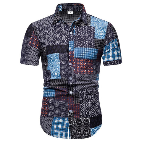 2b8b875a MarKyi 2019 summer new floral print mens patterned shirts plus size 5xl short  sleeve slim fit