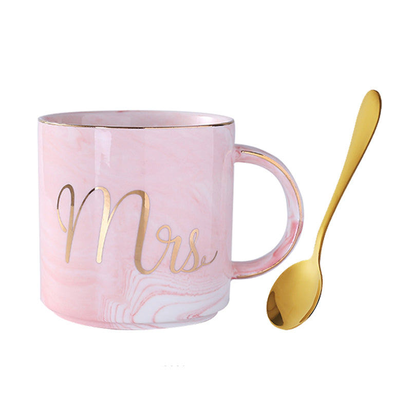Marble Ceramic Mug Cup Coffee Cup European Simple Phnom Penh Mrs & Mr Iron Series Tumblerful with Spoon Creative Grey Pink Gift - thefashionique