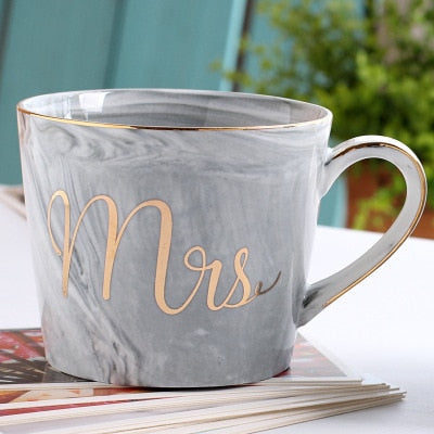 Marble Design Ceramics Golden Letter Mr Ms Cool Marbling Coffee Mug Breakfast Milk Insulated Cup Handgrip Xicara Outline In Gold - thefashionique