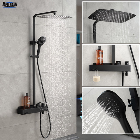 Matt Black Bathroom Rain Shower Set System Wall Mounted Mixer Bath Shower Faucet With Hook And Placement Platform - thefashionique