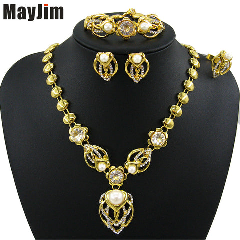 MayJim  Fashion Women 2018 Jewelry Sets Gold Tulip Flowers Necklaces Earrings Bracelet adjustable ring Jewelry Sets & More Party - thefashionique