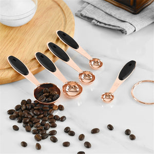 Measuring Spoon Stainless Steel Copper Plated Scoop Coffee Cake Powder Baking Handle Durable Cutlery Kitchen Tool Acessory 5PCS - thefashionique