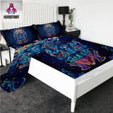 Meditating God Flyland by Ismot Esha Fitted Sheet Set Psychedelic Bed Sheet Blue Flat Sheet King Bedding Sacred Mattress Cover