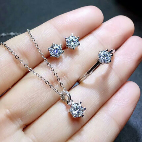 MeiBaPJ Real Moissanite Gemstone Jewelry Set 925 Solid Silver Classic 6 Claws Necklace Earrings Ring Wedding Jewelry for Women - thefashionique