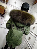 MeiFNG Brand Army Green Beads Furs Coat Olive Green Natural Collar Fashionable Factory Diect Selling