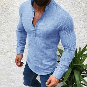 Men Cotton Linen Shirt Fashion Casual Long Sleeve Autumn Blouse Shirts Man Fit Half Open Shirt Muscle Man Slim Plus Size Blouse - thefashionique