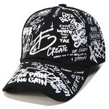 Men Hip Hop Cap Graffiti Letter Print Harajuku Baseball Caps Snapback Dad Cap Women Fitted Hat Black White Skateboard Streetwear