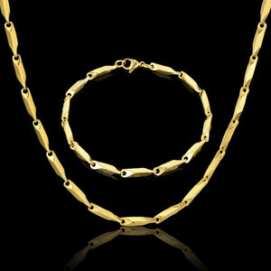 Men Jewelry Sets & More 3MM Gold Color Link Chain Necklace & Bracelet For Men Stainless Steel Chains Cheap Fashion Jewelry Sets - thefashionique