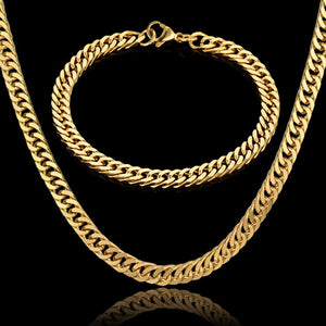 Men Jewelry Sets & More 7MM Gold Color Long Cuban Link Chain Necklace & Bracelet For Men Stainless Steel Chain Jewelry Set - thefashionique