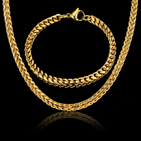 Men Jewelry Sets & More Gold Color Cuban Link Chain Necklace & Bracelet For Men Stainless Steel Chain Cheap Fashion Jewelry Sets - thefashionique