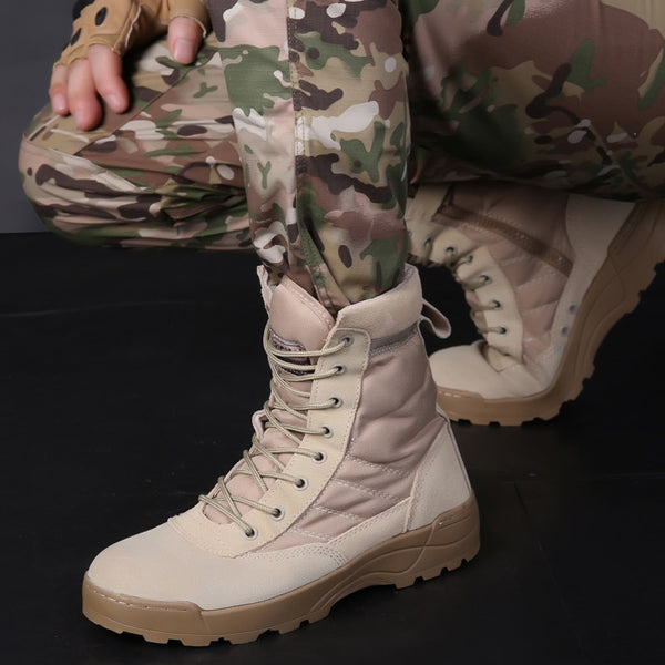60dfab2471f3 Men Tactical Military Army Boots Breathable Leather Mesh High Top Casu
