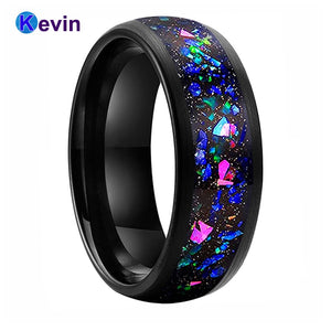 Men Women Black Opal Ring Tungsten Wedding Band With Galaxy Series Opal Inlay Domed Brush Finish Width 8MM Comfort Fit