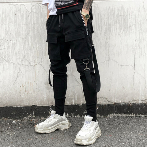Men personality punk rock harem pants nightclub DJ singer stage costume trousers men harajuku hip hop ribbons joggers streetwear