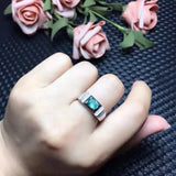 Men ring Emerald ring Natural real emerald 925 sterling silver Free shipping - thefashionique