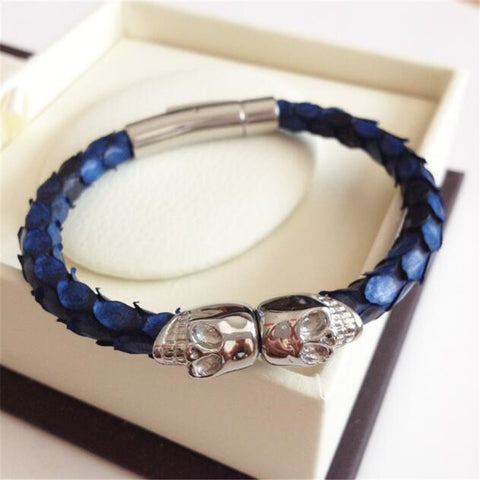 Men's Blue Python Leather Bracelets With Steel Skull Magnet Python Stingray Watch Brand Genuine Leather Strap Bracelet Men