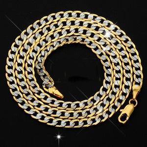Men's Hiphop Necklace Silver Plated 18K Gold Cuban Link Chain Necklace for Male Jewelry 18inch/26inch 2020 New Year Gifts