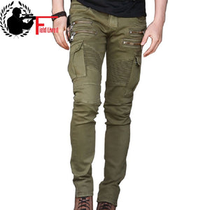 Men's Jeans Casual Biker Jeans with Zipper Fashion Fold Designer Skinny Hiphop Punk Multi Pockets Slim Denim Pants for Men 28-36 - thefashionique
