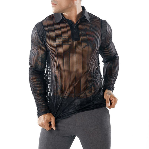 Men's Sexy See-through Transparent T Shirt 2018 Fashion New Long Sleeve Nightclub Wear Tshirt Men Party Prom Streetwear Tops Tee - thefashionique
