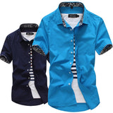 Men's Shirts cotton 2017 new Summer Silk Solid Shirts Men Casual Short Sleeve male Shirts white black plus big Size M-5XL - thefashionique