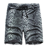 Men's Summer Fashion Wear New Style Cotton Yellow Leopard Printed Points Shorts Men's European Style Casual  Loose Beach Shorts - thefashionique