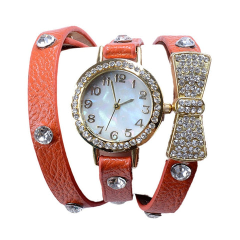 Men's Watch Elegant Crystal Bracelet Bow Leather Strap Chain Quartz Wrist Watch relogio masculino dropshopping free shipping#40