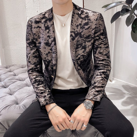 Mens Casual Suits Jackets Slim Fit Blazers Mens Stage Clothing for Mens Party Mens Fashion Blazers Shining Veste Homme Smoking