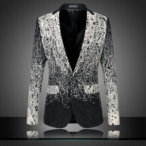 Mens Floral Blazers Designs Trendy Suits Club Vintage Slim Fit Flower Print Blazers Fancy Prom Dress Suits Terno Masculino