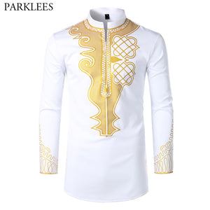 Mens Hipster African Dashiki Print Dress Shirts Brand Streetwear Casual White African Shirt Men Slim Long Sleeve Chemise Homme - thefashionique
