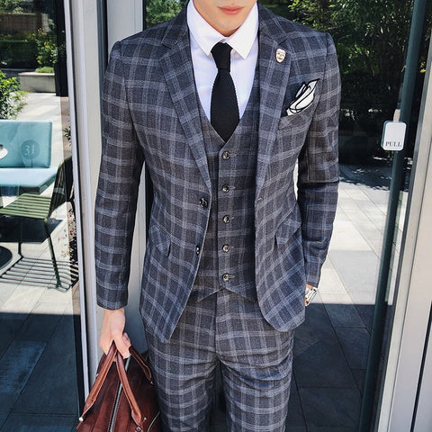 Mens Plaid Suits Business Terno Masculino Slim Fit Wedding Traje Hombre Mens Suits Designers 2018 Formal Smoking Para Hombre